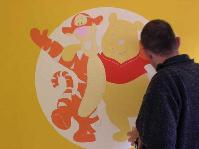 2004, Winnie the Pooh, muurschildering, mastenbroers, kleur